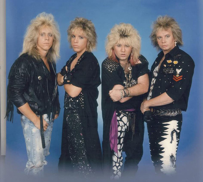 Awkward 1980s metal band photo.
