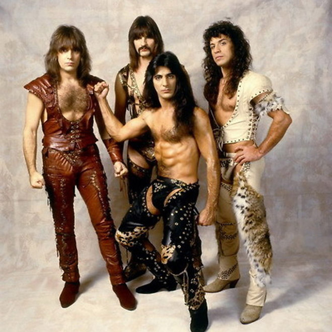 Hilariously dumb vintage metal band photo.