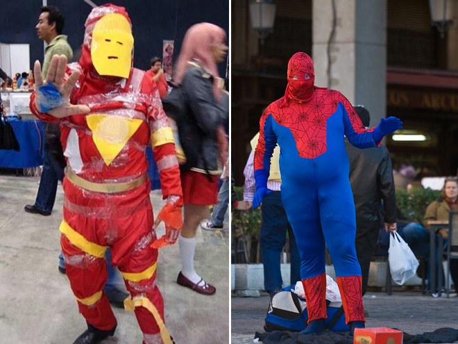 Iron Man and Spider-Man costume fails.