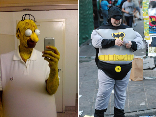 Homer and Batman cosplay fails.