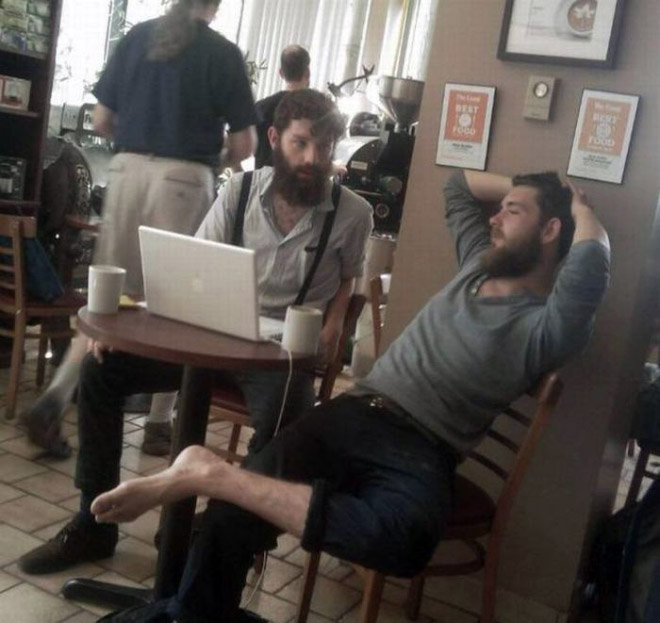 Couple of hipsters hanging out.