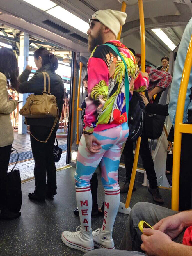 Hipster fashion on public display.
