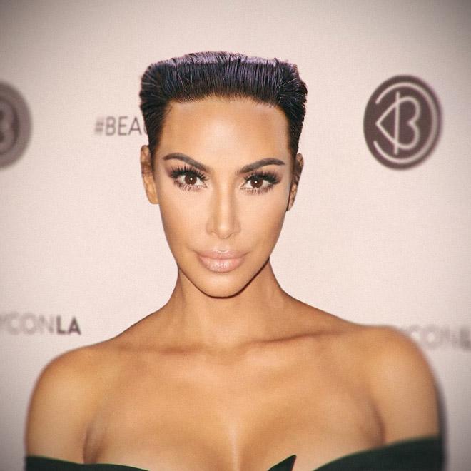 Kim Kardashian with Kim Jong-Un hairstyle.