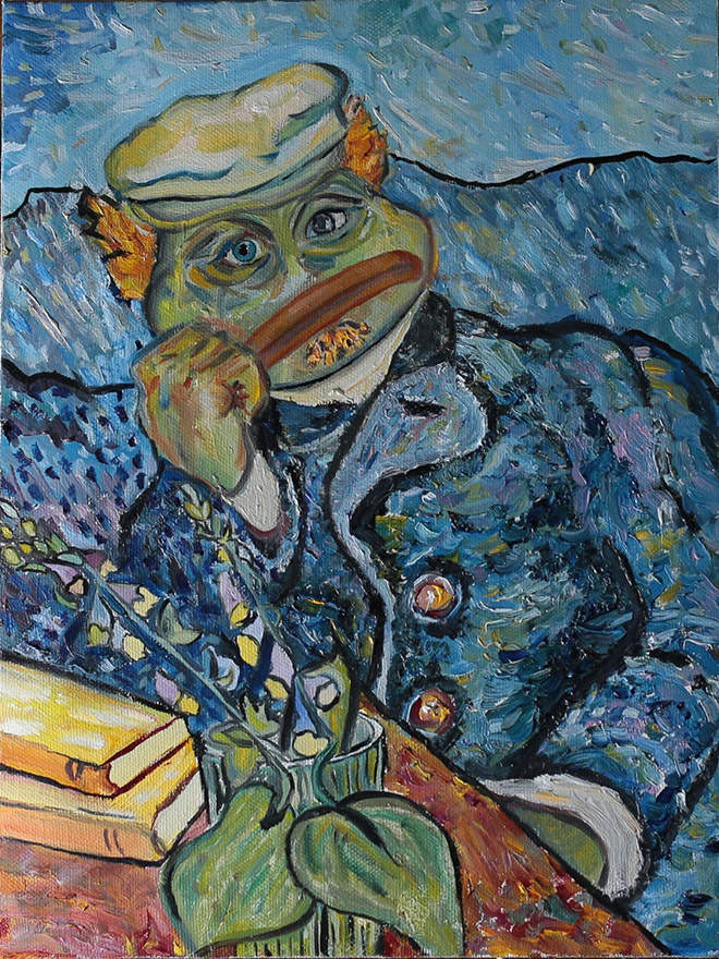Beautiful painting of Pepe The Frog.