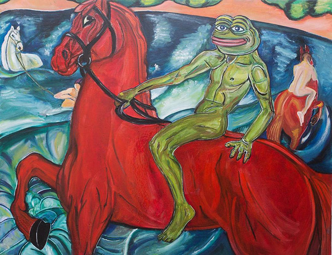 Pepe The Frog riding a horse.