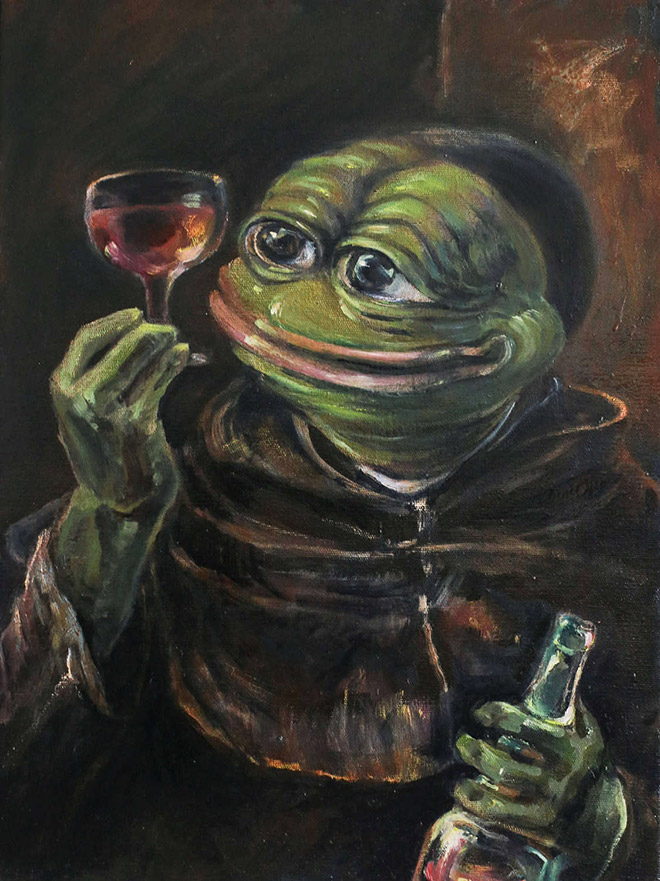 Pepe The Frog as a drinking monk.