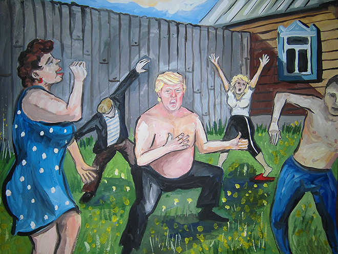 Trump dancing with his Russian friends.