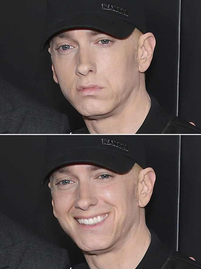 Smiling Eminem looks creepy.