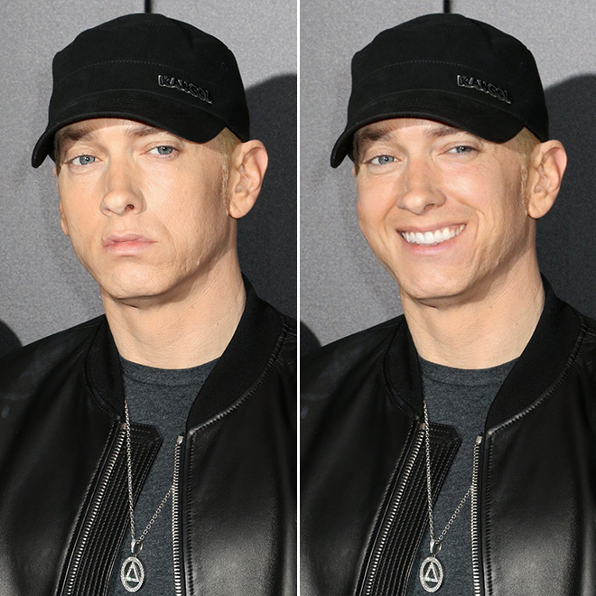 Smile really changes Eminem.
