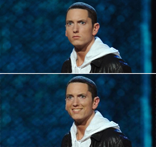 Smiling Eminem looks horrifying.