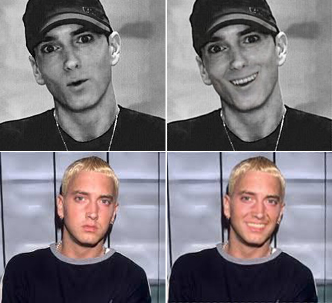 Smiling Eminem looks really weird.