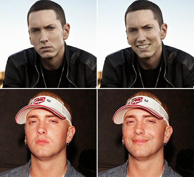 Smiling Eminem looks really awkward.