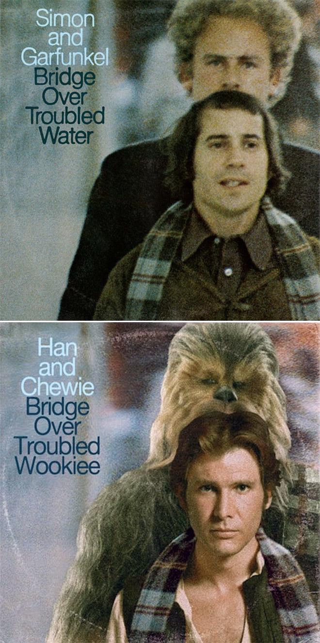 Simon and Garfunkel / Star Wars mashup.