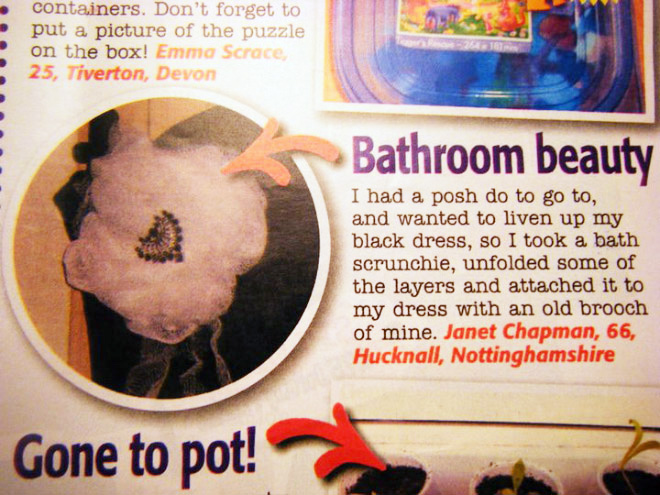 An actual life hack published in women's magazine. Wow!