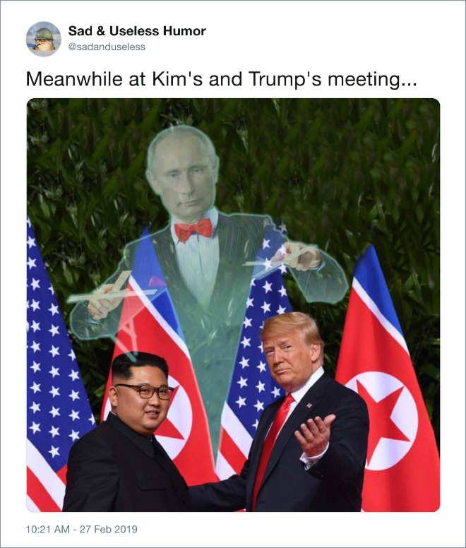Meanwhile at Kim's and Trump's meeting...