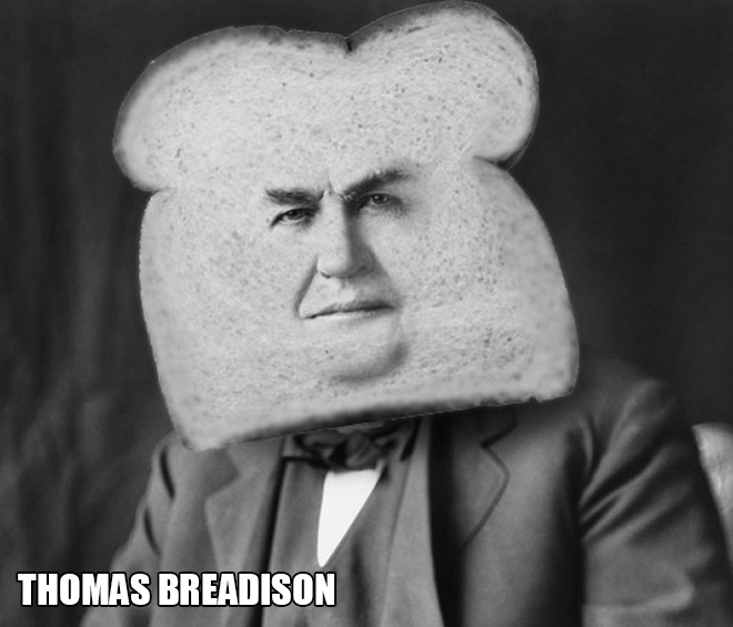 Bread celebrity: punny, stupid Photoshop project.