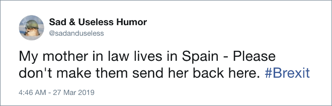 My mother in law lives in Spain - Please don't make them send her back here. #Brexit