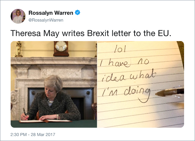Theresa May writes Brexit letter to the EU.