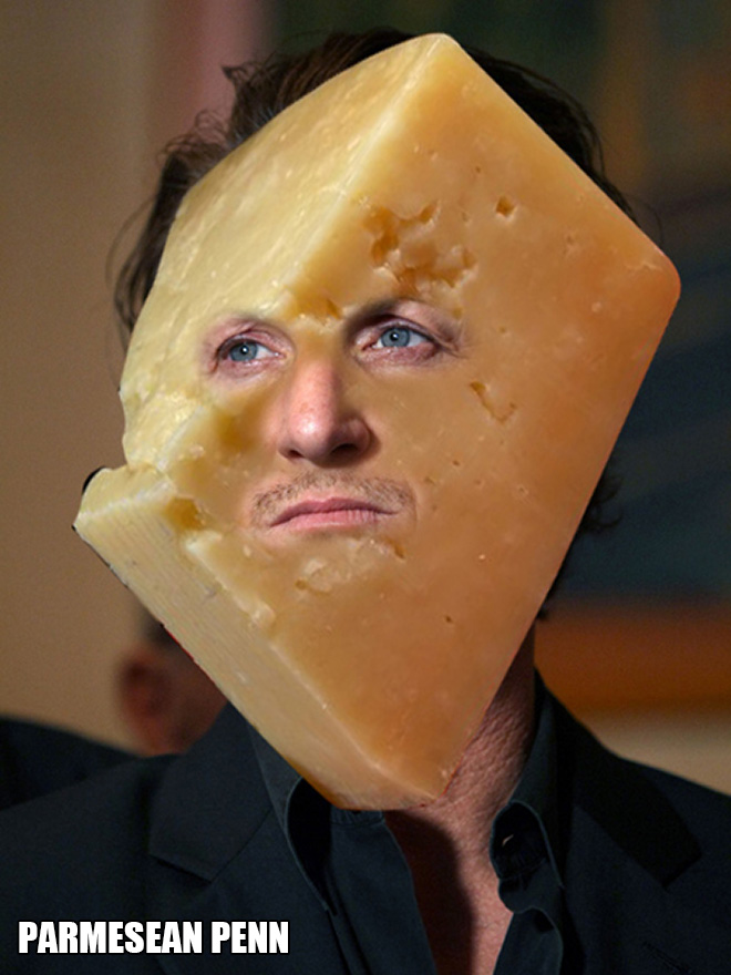 Stupid pun + cheese + celebrity = this hilarious photoshopped picture.