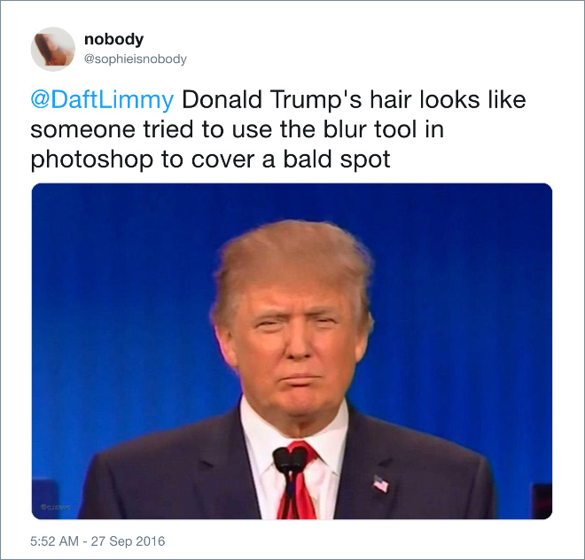 Donald Trump's hair looks like someone tried to use the blur tool in photoshop to cover a bald spot.