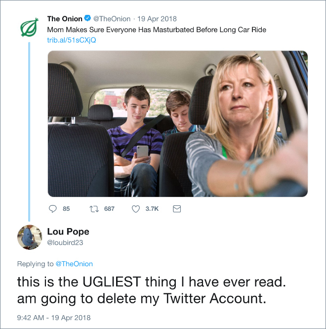 """This person took """"The Onion"""" news seriously."""