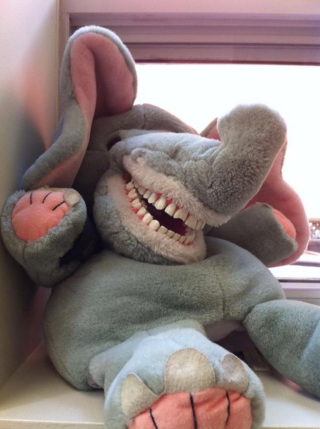 Creepy stuffed educational dentist toy for kids.
