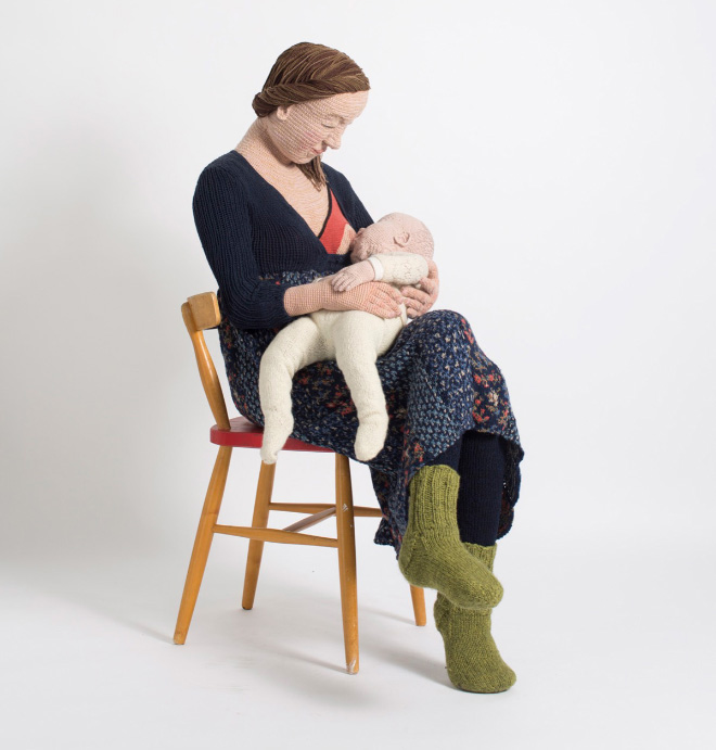 Crocheted life-size copy of real human by Liisa Hietanen.