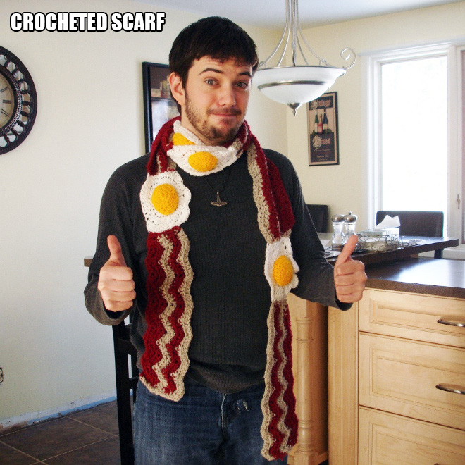 Crocheted bacon and eggs scarf.