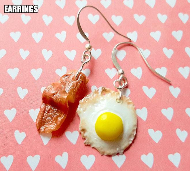 Bacon and eggs earrings.