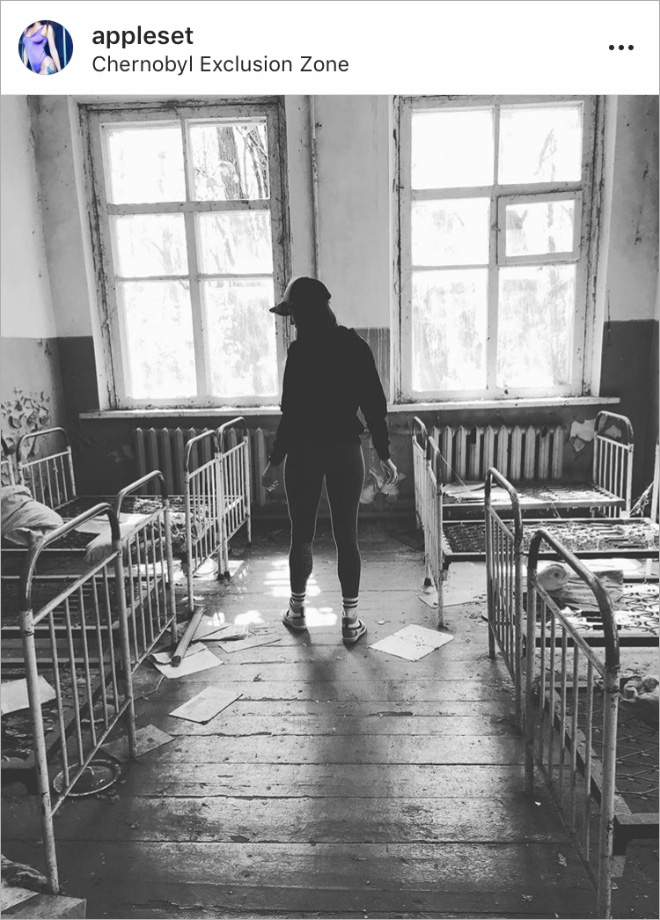 Trying to look hot at the Chernobyl disaster site.