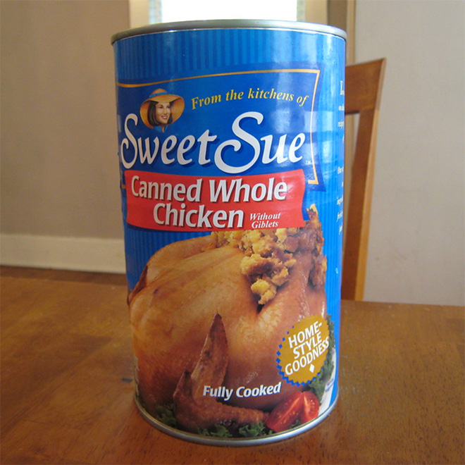 Whole cooked chicken in a can.