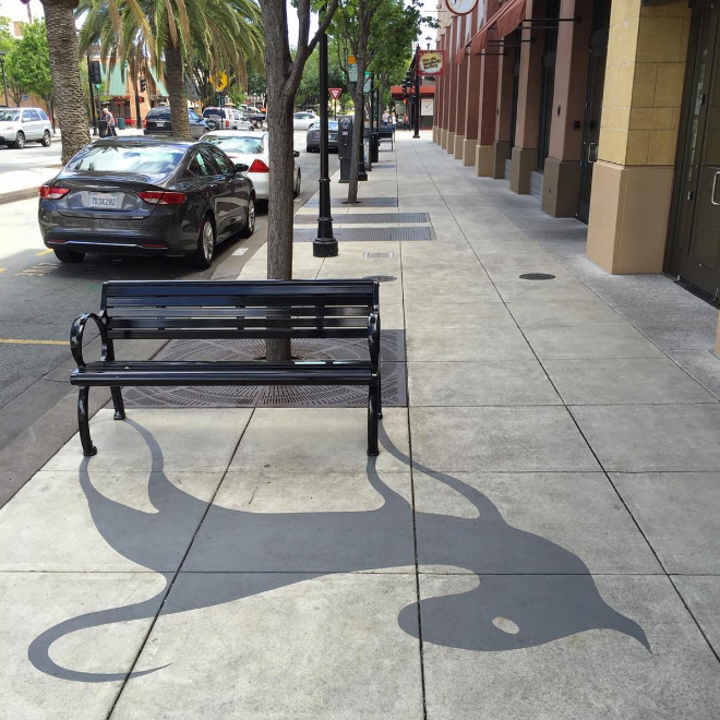 Fake shadow created by an artist.