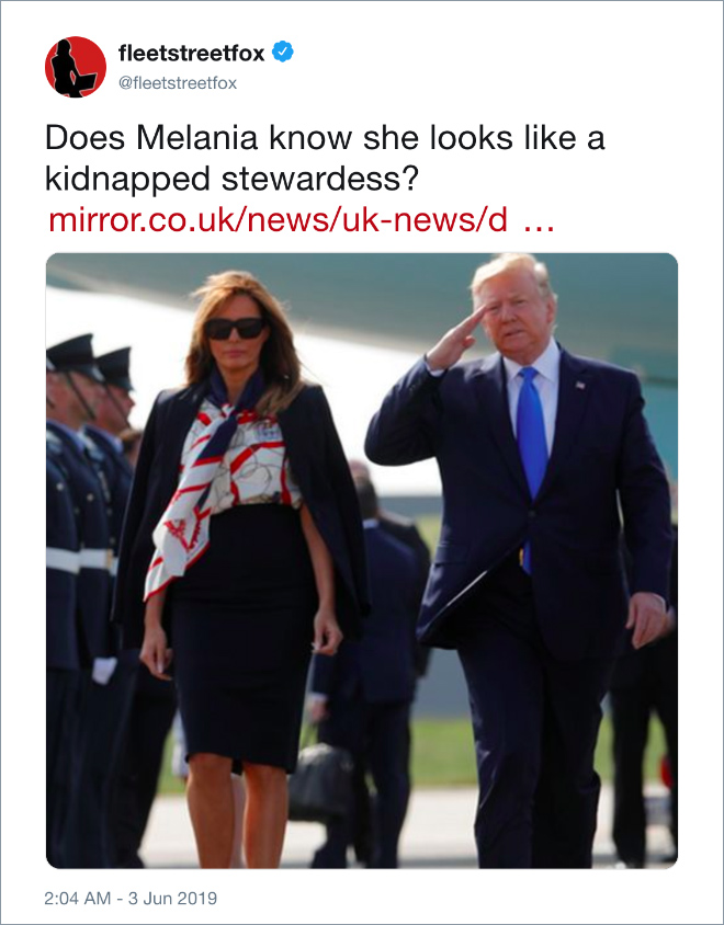 Funny tweet about Trump visiting UK.