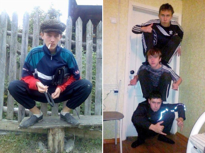 Squatting slavs in tracksuits.