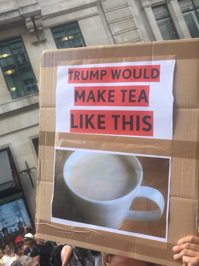 Funny anti-Trump protest sign.