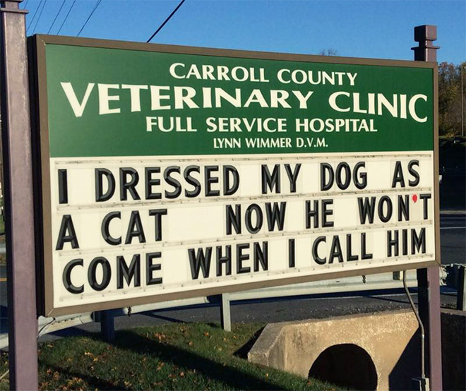Funny vet clinic sign.