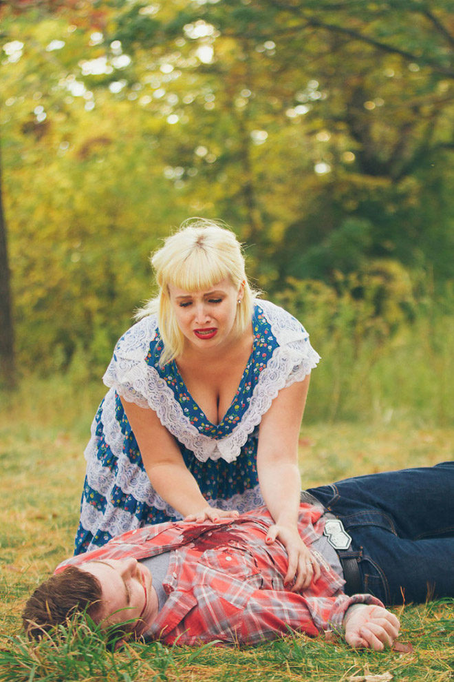 This is a really unusual engagement photoshoot...