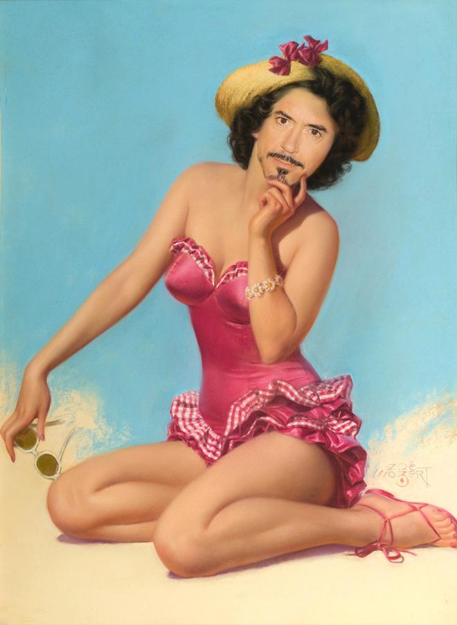 Robert Downey Jr. as a pinup girl.