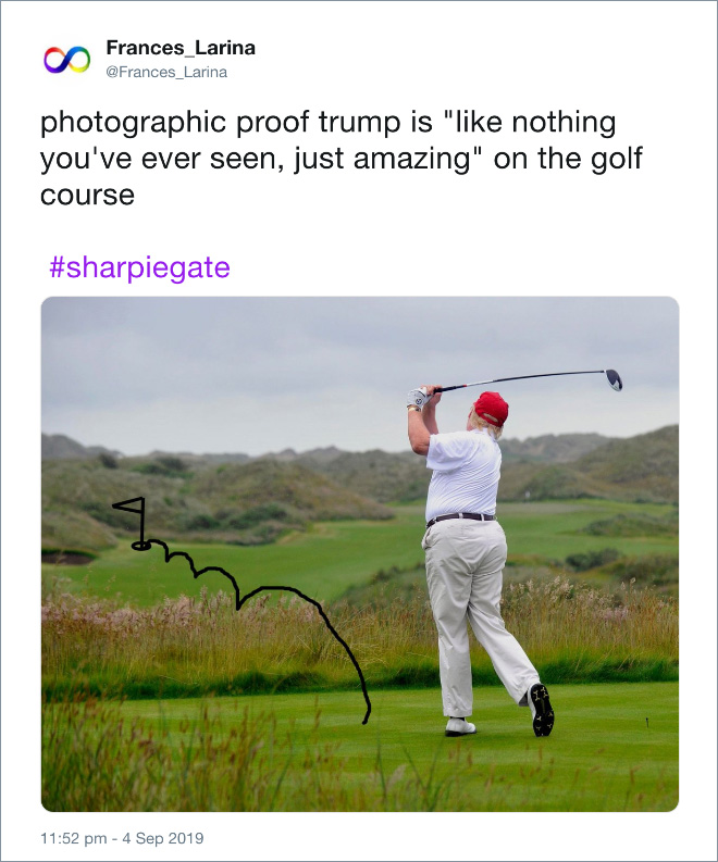 "Photographic proof trump is ""like nothing you've ever seen, just amazing"" on the golf course."