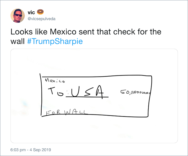 Looks like Mexico sent that check for the wall.