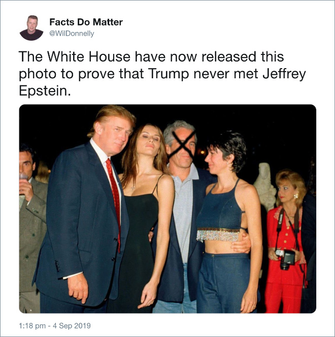 The White House have now released this photo to prove that Trump never met Jeffrey Epstein.