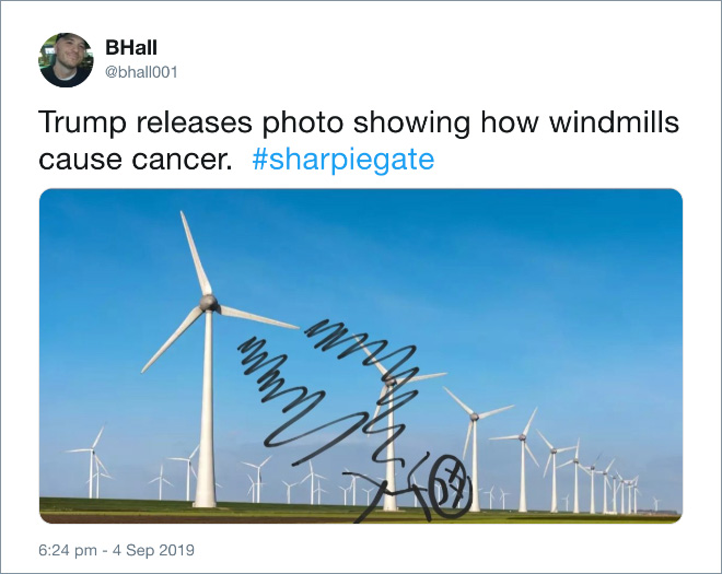 Trump releases photo showing how windmills cause cancer.