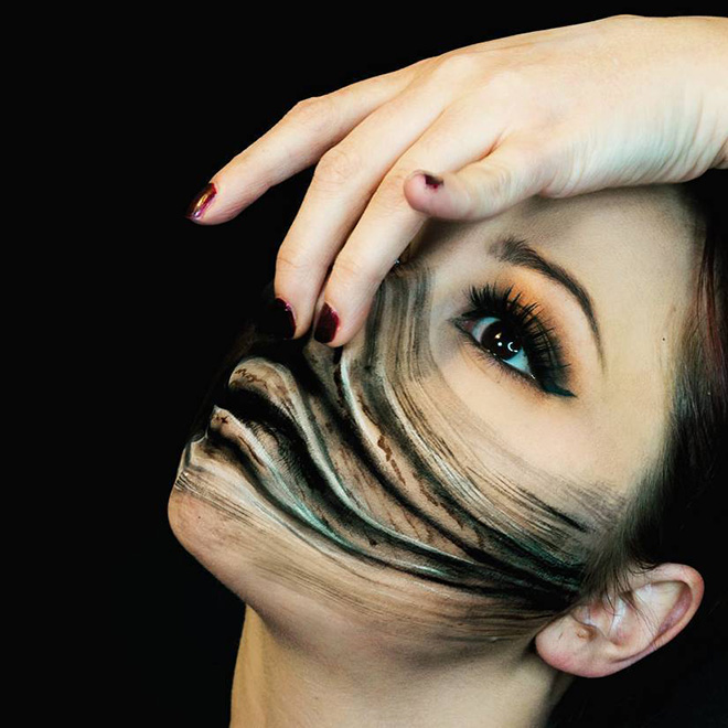 Creepy makeup.