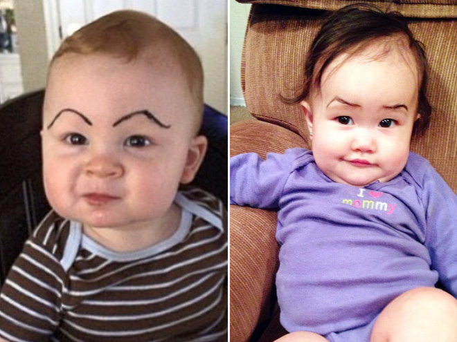 Makeup eyebrows make babies look so much better!