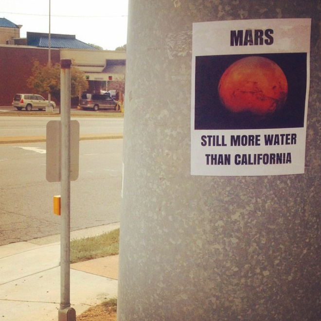 Clever poster by Jason C. Saenz posted in California.