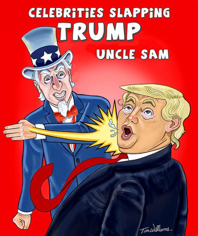 Celebrity slapping Trump.