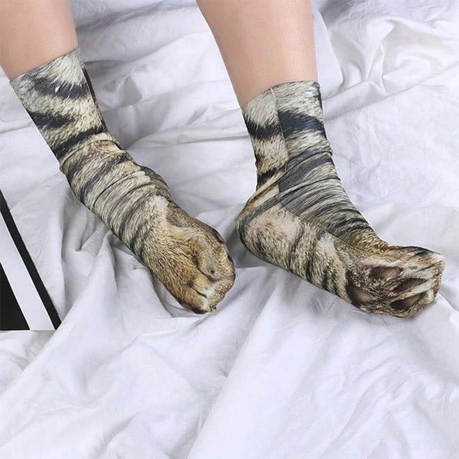 Funny realistic cat paw socks.