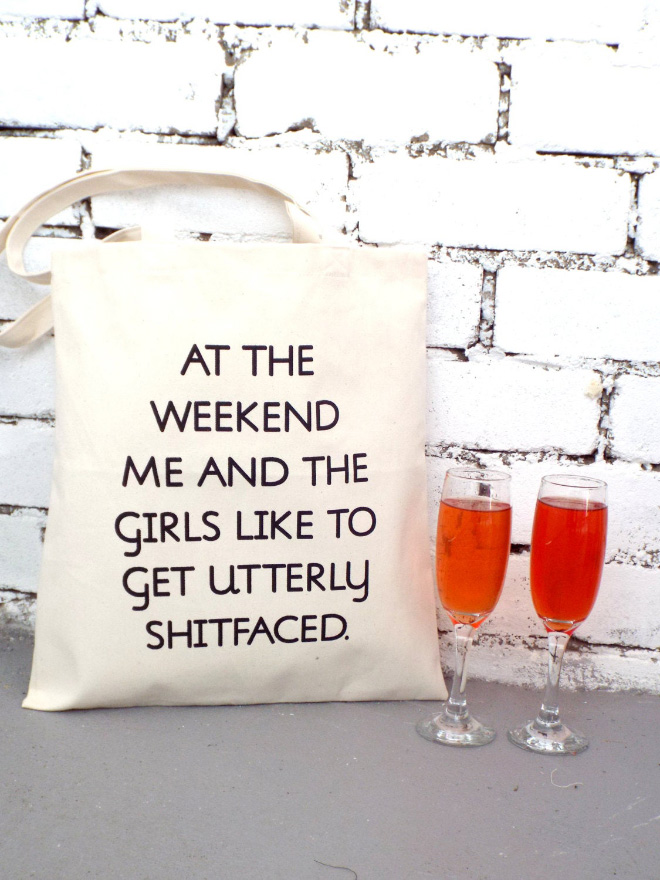 Funny grocery bag.