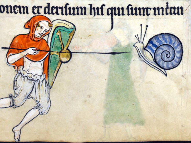 Medieval artist really loved drawing battles with snails. Why?