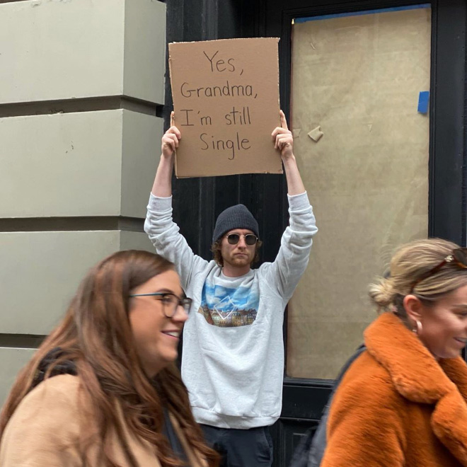This guy likes to protest against mundane stuff.
